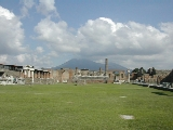 Pompeii with Vesuvius looming in the distance