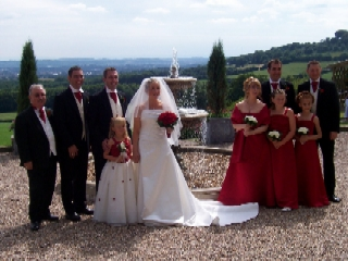 Bride and groom, bridesmaids, best man and ushers